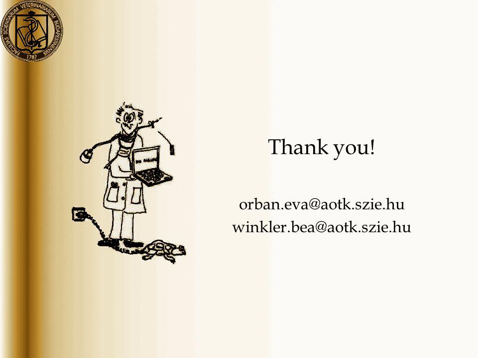 Thank you! orban.eva@aotk.szie.hu winkler.bea@aotk.szie.hu