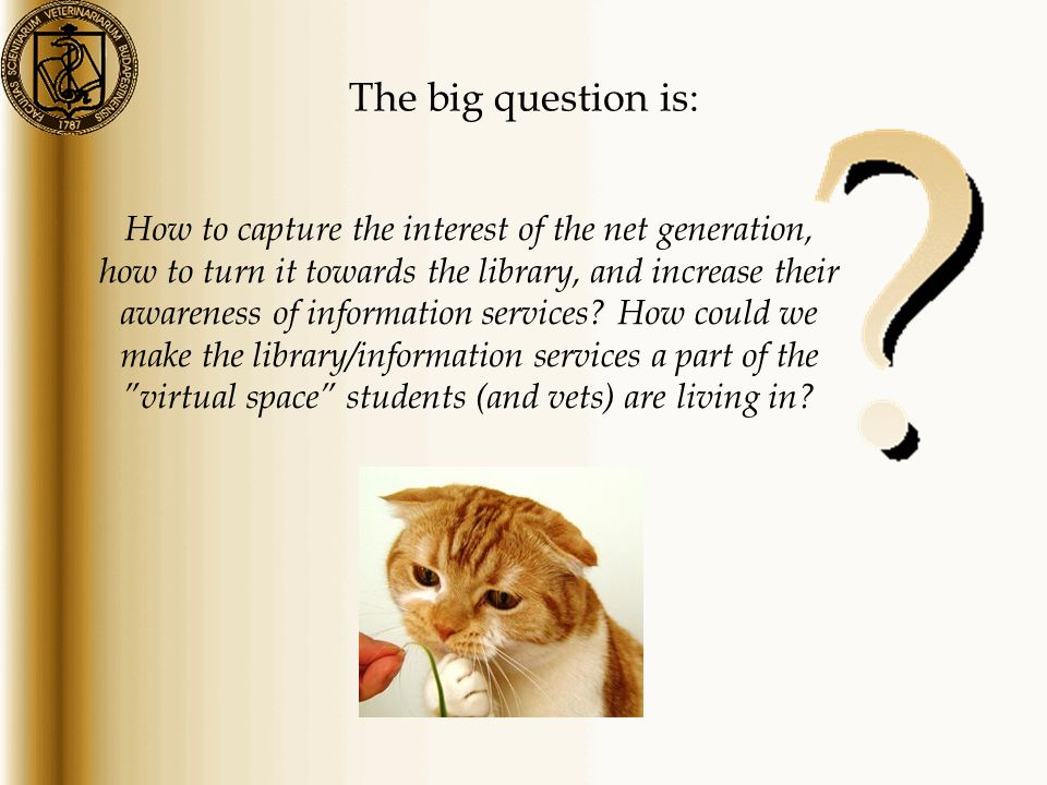 The big question is: How to capture the interest of the net generation, how to turn it towards the library, and increase their awareness of information services.