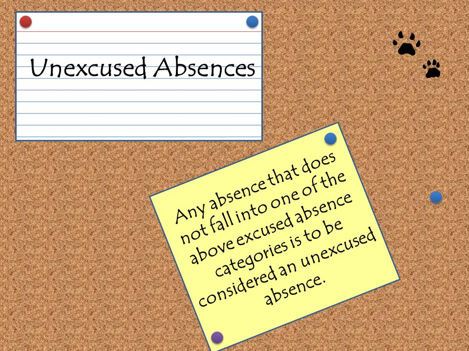 Any absence that does not fall into one of the above excused absence categories is to be considered an unexcused absence.