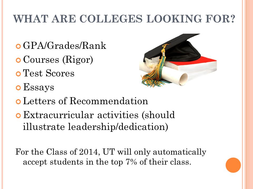 WHAT ARE COLLEGES LOOKING FOR? GPA/Grades/Rank Courses (Rigor) Test Scores Essays Letters of Recommendation Extracurricular activities (should illustr
