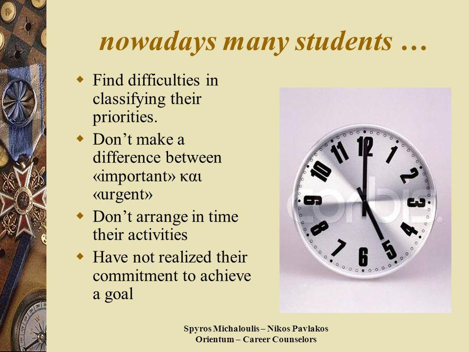 Spyros Michaloulis – Nikos Pavlakos Orientum – Career Counselors nowadays many students …  Find difficulties in classifying their priorities.