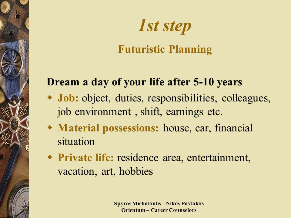 Spyros Michaloulis – Nikos Pavlakos Orientum – Career Counselors 1st step Futuristic Planning Dream a day of your life after 5-10 years  Job: object, duties, responsibilities, colleagues, job environment, shift, earnings etc.