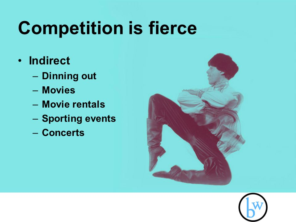 Competition is fierce Indirect –Dinning out –Movies –Movie rentals –Sporting events –Concerts