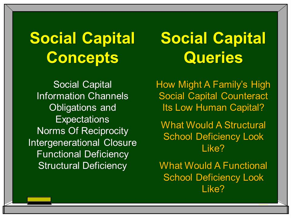 Social Capital Queries How Might A Family's High Social Capital Counteract Its Low Human Capital? What Would A Structural School Deficiency Look Like?