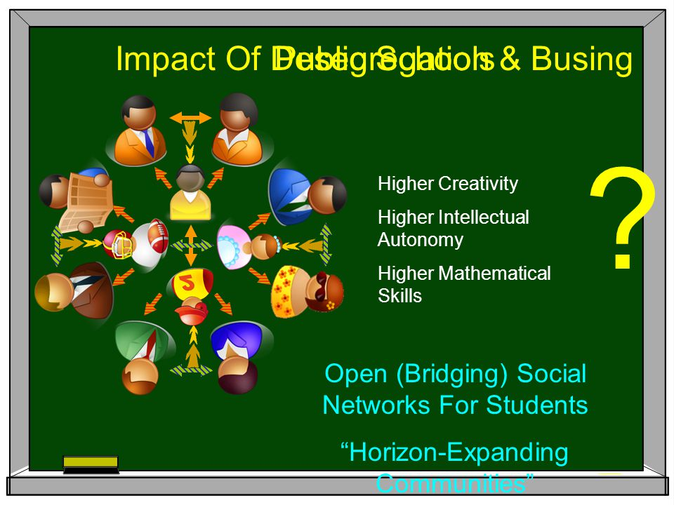 "Open (Bridging) Social Networks For Students ""Horizon-Expanding Communities"" Impact Of Desegregation & Busing ? Higher Creativity Higher Intellectual"