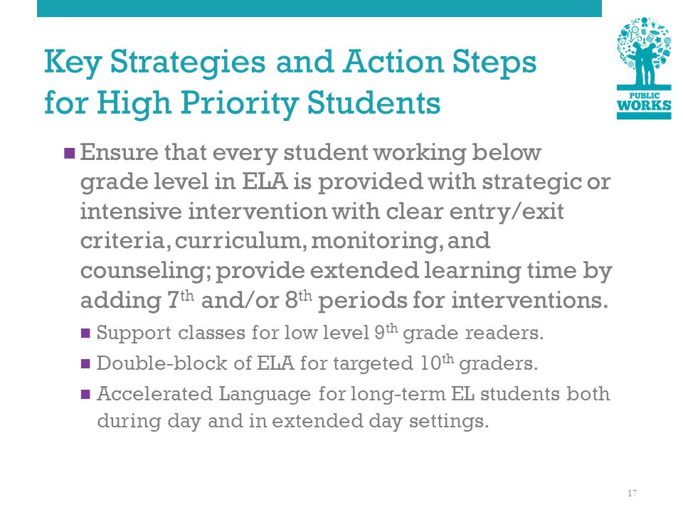 Key Strategies and Action Steps for High Priority Students Ensure that every student working below grade level in ELA is provided with strategic or intensive intervention with clear entry/exit criteria, curriculum, monitoring, and counseling; provide extended learning time by adding 7 th and/or 8 th periods for interventions.