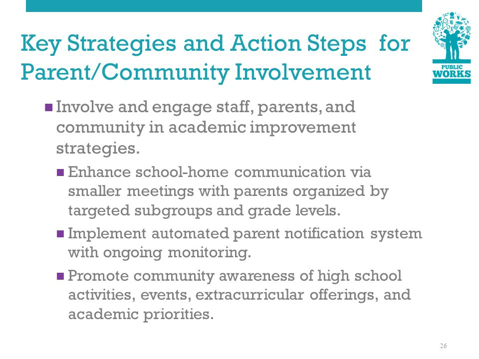 Key Strategies and Action Steps for Parent/Community Involvement Involve and engage staff, parents, and community in academic improvement strategies.