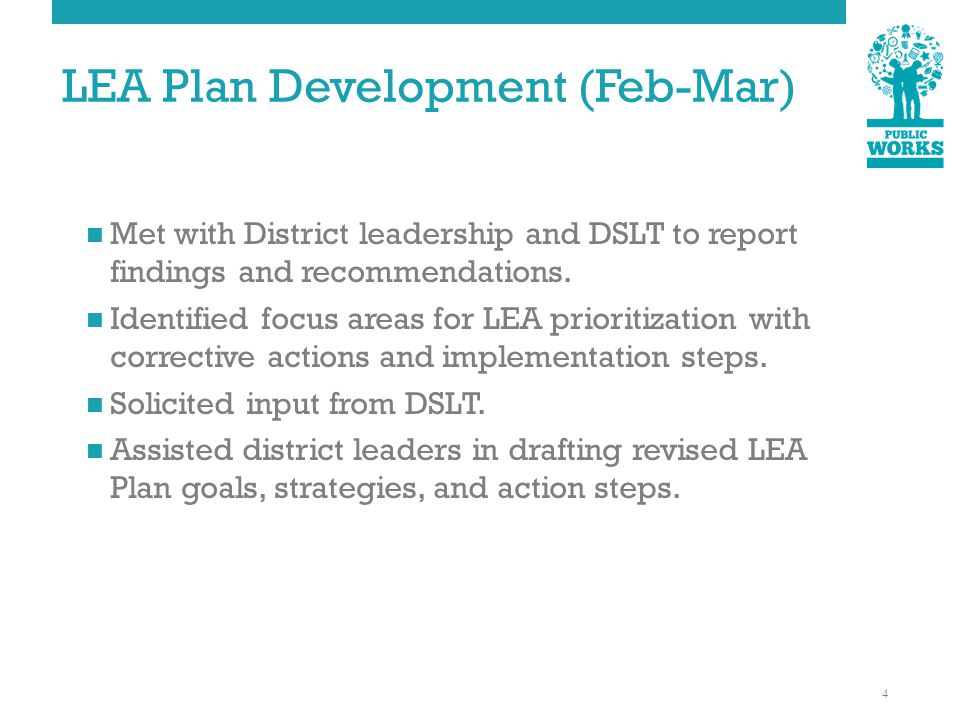 LEA Plan Development (Feb-Mar) Met with District leadership and DSLT to report findings and recommendations.
