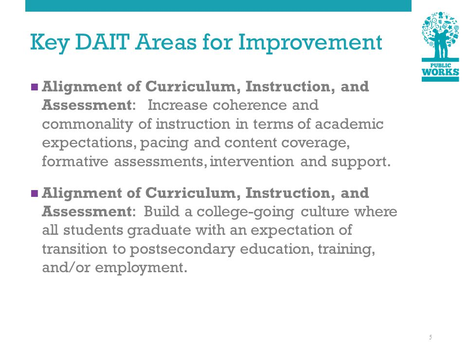 Key DAIT Areas for Improvement Alignment of Curriculum, Instruction, and Assessment: Increase coherence and commonality of instruction in terms of academic expectations, pacing and content coverage, formative assessments, intervention and support.