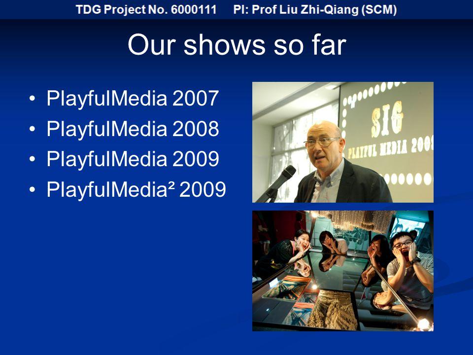 Our shows so far PlayfulMedia 2007 PlayfulMedia 2008 PlayfulMedia 2009 PlayfulMedia² 2009