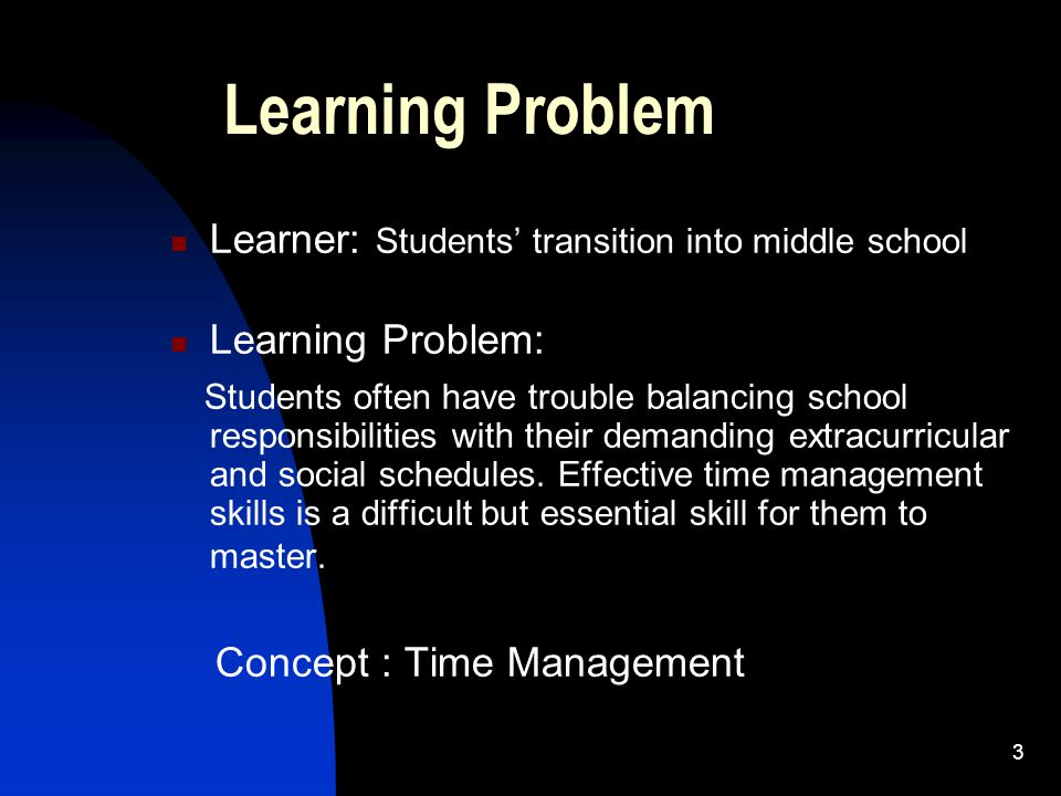 3 Learning Problem Learner: Students' transition into middle school Learning Problem: Students often have trouble balancing school responsibilities wi
