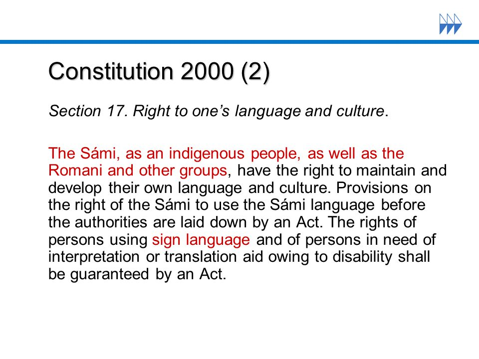 Constitution 2000 (2) Constitution 2000 (2) Section 17.