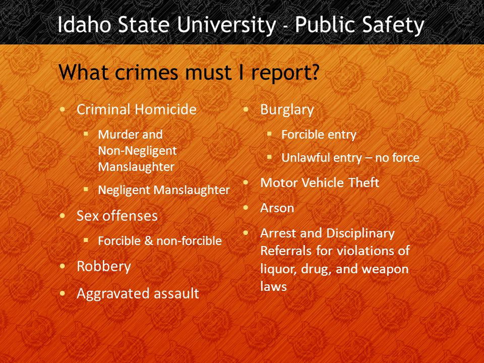 What crimes must I report.