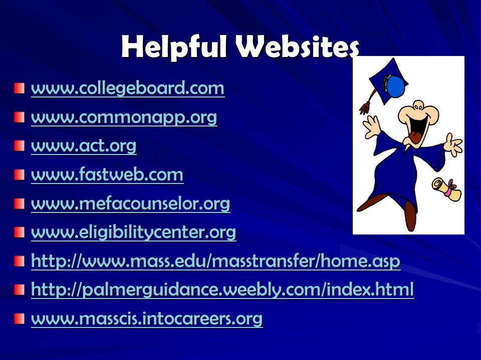 Helpful Websites www.collegeboard.com www.commonapp.org www.act.org www.fastweb.com www.mefacounselor.org www.eligibilitycenter.org http://www.mass.edu/masstransfer/home.asp http://palmerguidance.weebly.com/index.html www.masscis.intocareers.org