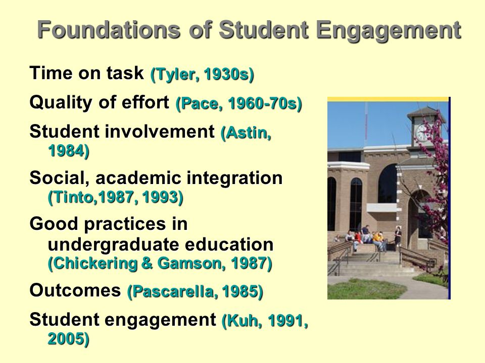 Foundations of Student Engagement Time on task (Tyler, 1930s) Quality of effort (Pace, 1960-70s) Student involvement (Astin, 1984) Social, academic integration (Tinto,1987, 1993) Good practices in undergraduate education (Chickering & Gamson, 1987) Outcomes (Pascarella, 1985) Student engagement (Kuh, 1991, 2005)