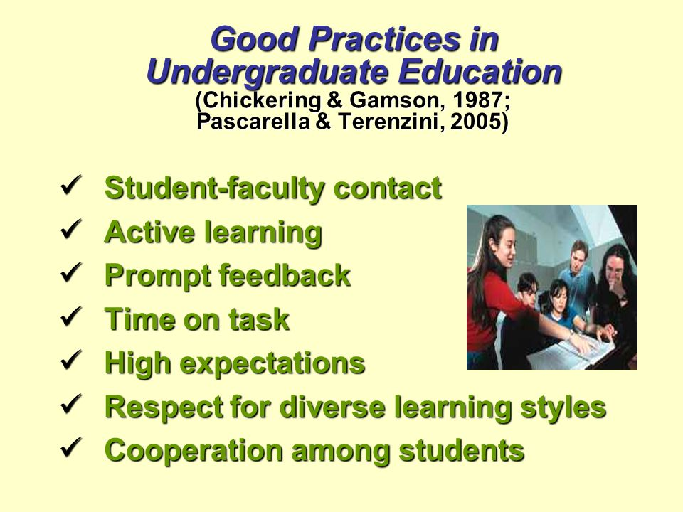 Good Practices in Undergraduate Education (Chickering & Gamson, 1987; Pascarella & Terenzini, 2005) Student-faculty contact Student-faculty contact Active learning Active learning Prompt feedback Prompt feedback Time on task Time on task High expectations High expectations Respect for diverse learning styles Respect for diverse learning styles Cooperation among students Cooperation among students