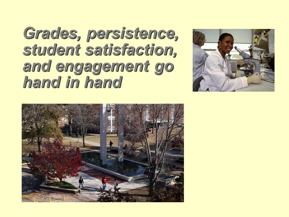 Grades, persistence, student satisfaction, and engagement go hand in hand