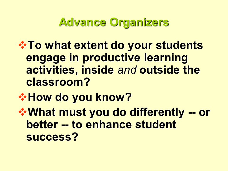 Advance Organizers  To what extent do your students engage in productive learning activities, inside and outside the classroom.