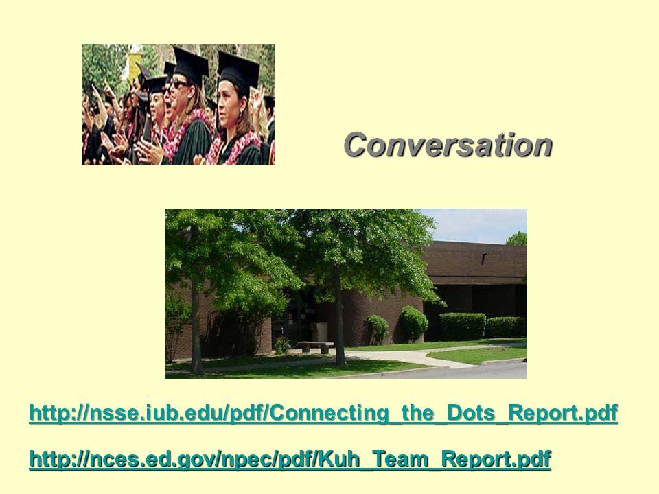 Conversation Conversation http://nsse.iub.edu/pdf/Connecting_the_Dots_Report.pdf http://nces.ed.gov/npec/pdf/Kuh_Team_Report.pdf