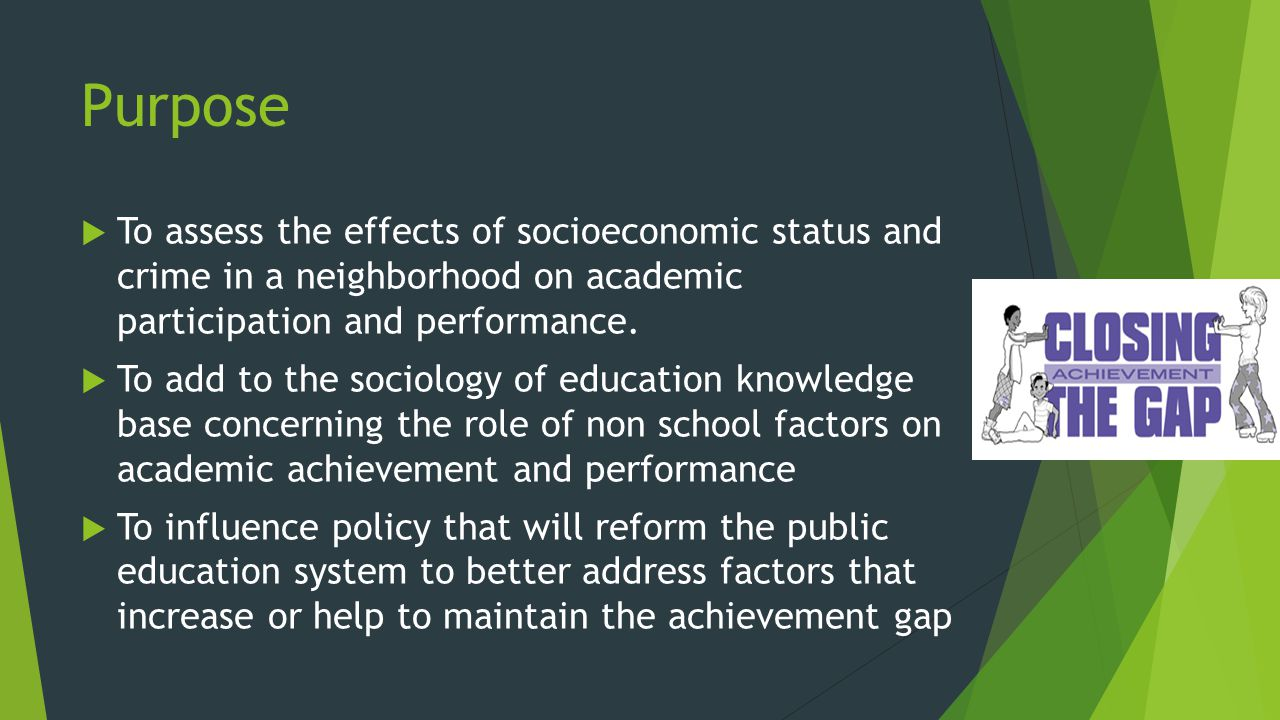 Purpose  To assess the effects of socioeconomic status and crime in a neighborhood on academic participation and performance.