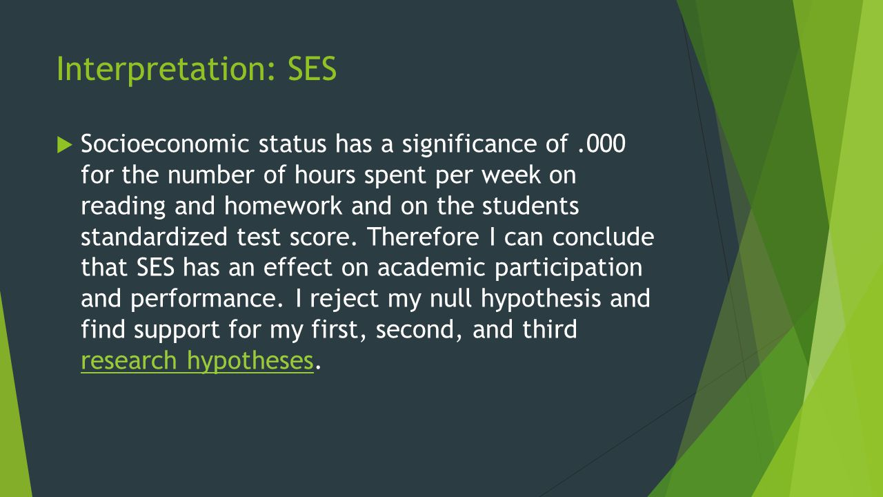 Interpretation: SES  Socioeconomic status has a significance of.000 for the number of hours spent per week on reading and homework and on the students standardized test score.