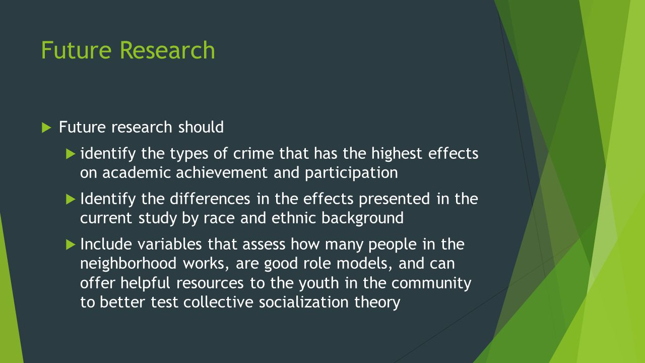 Future Research  Future research should  identify the types of crime that has the highest effects on academic achievement and participation  Identify the differences in the effects presented in the current study by race and ethnic background  Include variables that assess how many people in the neighborhood works, are good role models, and can offer helpful resources to the youth in the community to better test collective socialization theory