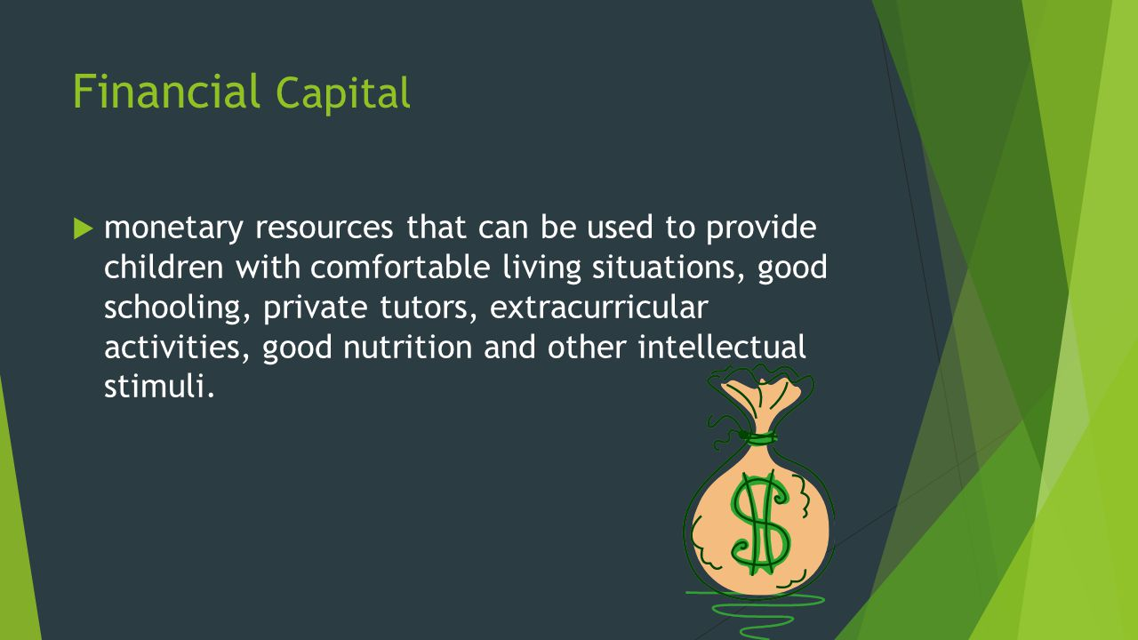 Financial Capital  monetary resources that can be used to provide children with comfortable living situations, good schooling, private tutors, extracurricular activities, good nutrition and other intellectual stimuli.