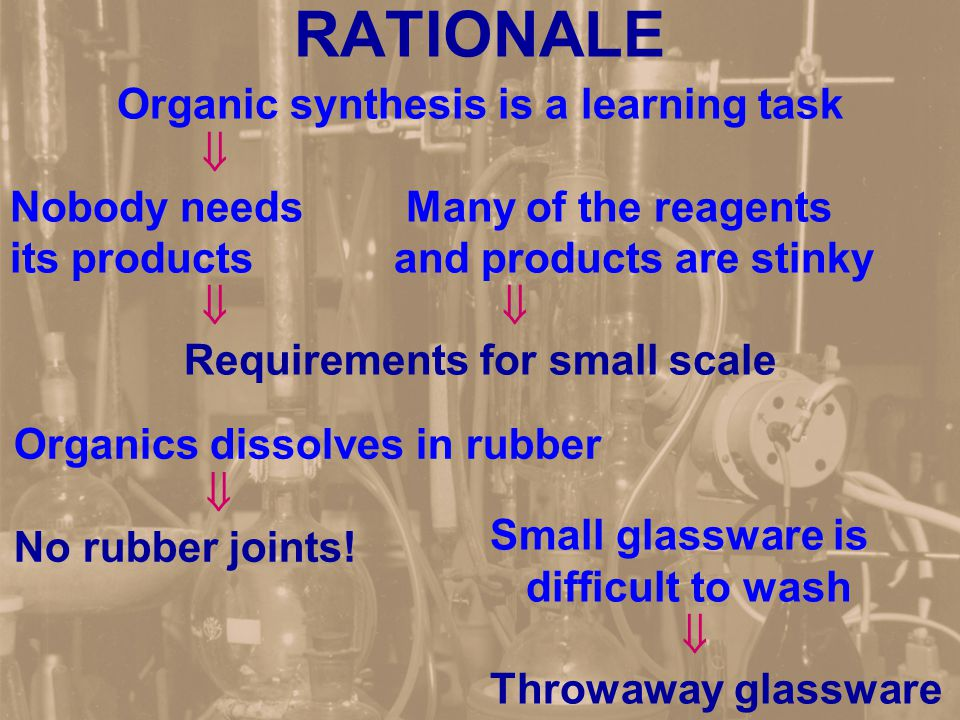 RATIONALE Organic synthesis is a learning task  Nobody needs Many of the reagents its productsand products are stinky   Requirements for small scale Organics dissolves in rubber  No rubber joints.