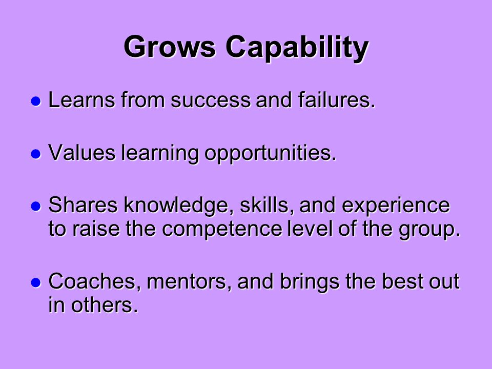 Grows Capability Learns from success and failures.