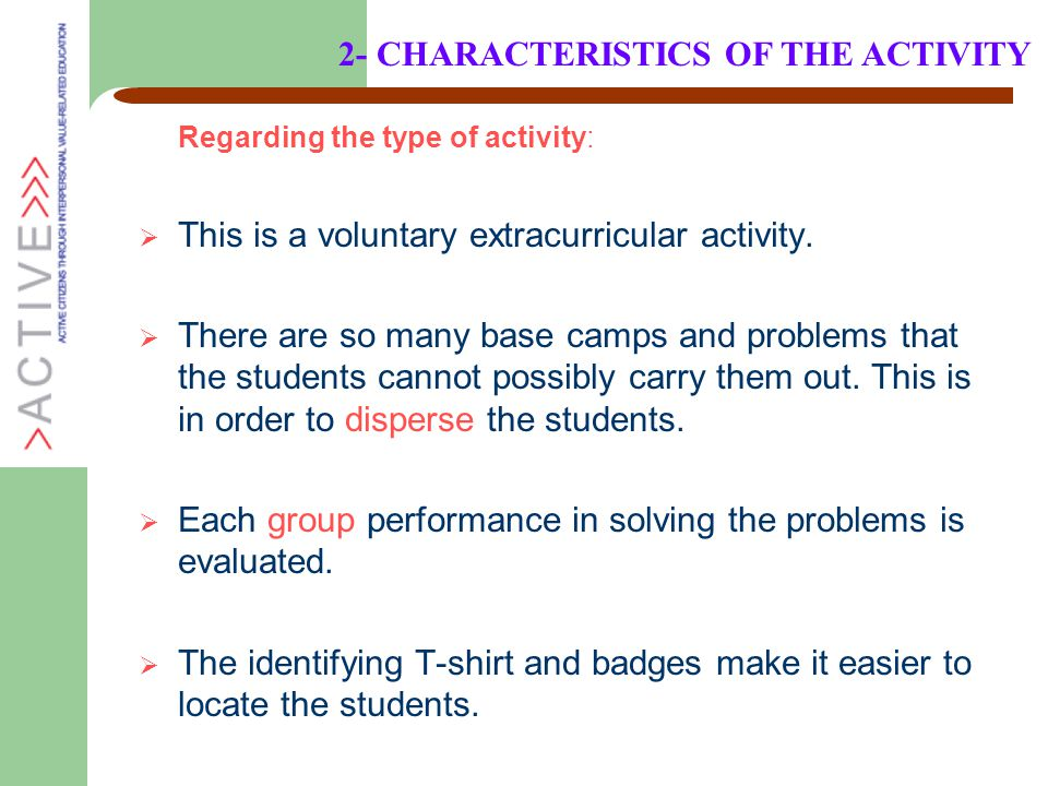 Regarding the type of activity:  This is a voluntary extracurricular activity.  There are so many base camps and problems that the students cannot p