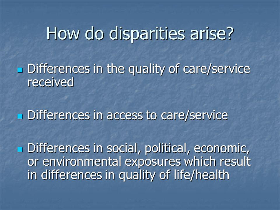 How do disparities arise.