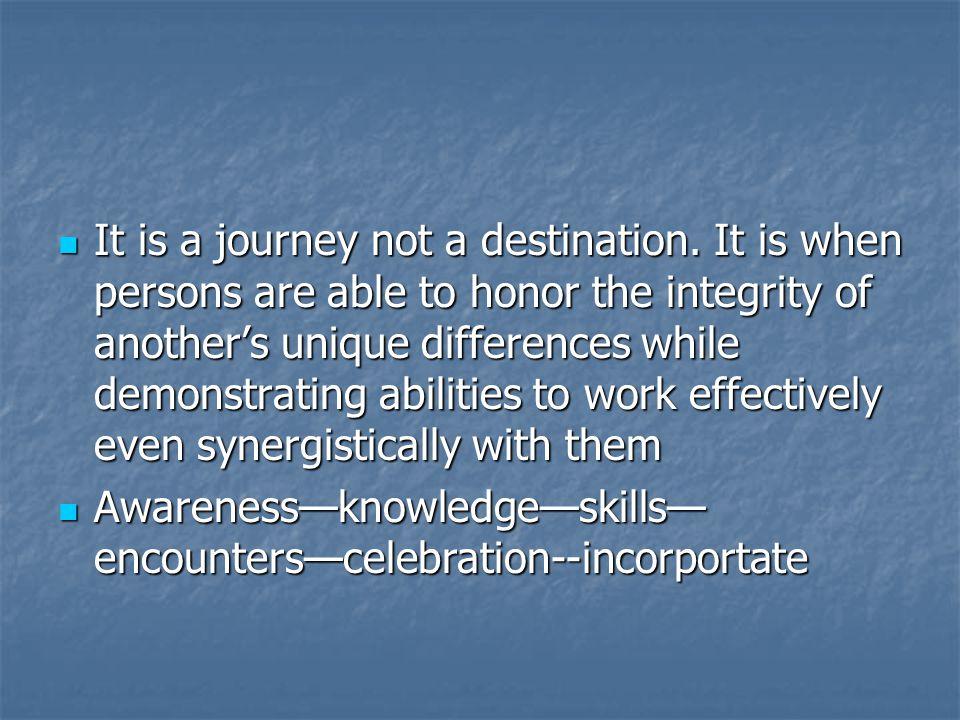 It is a journey not a destination.