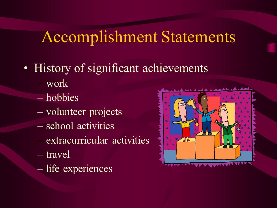 Accomplishment Statements History of significant achievements –work –hobbies –volunteer projects –school activities –extracurricular activities –travel –life experiences
