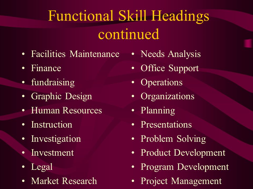 Functional Skill Headings continued Facilities Maintenance Finance fundraising Graphic Design Human Resources Instruction Investigation Investment Legal Market Research Needs Analysis Office Support Operations Organizations Planning Presentations Problem Solving Product Development Program Development Project Management