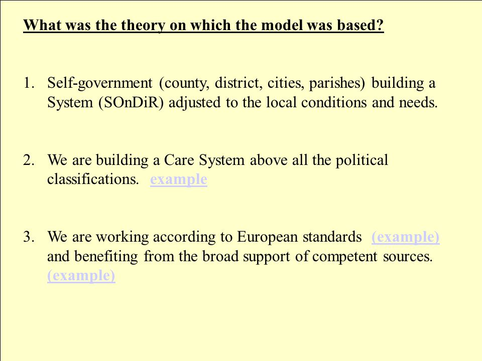 How was this model created.1.By analysing the social care systems in EEA countries.