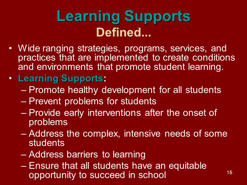 15 Learning Supports Learning Supports Defined...