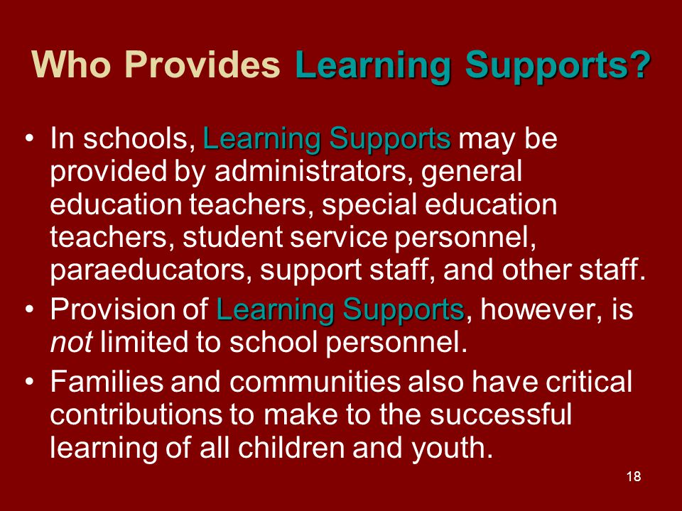 18 Learning Supports. Who Provides Learning Supports.