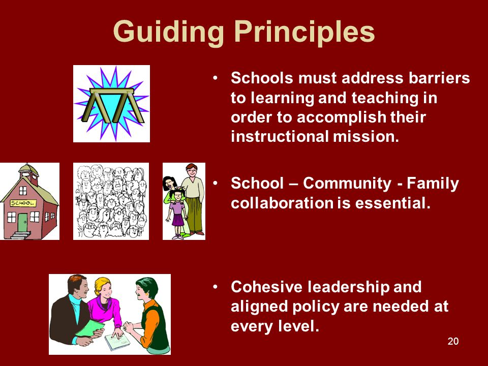 20 Guiding Principles Schools must address barriers to learning and teaching in order to accomplish their instructional mission.