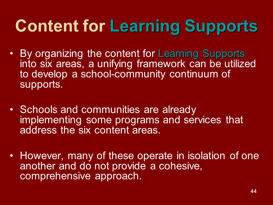 44 Learning Supports Content for Learning Supports Learning SupportsBy organizing the content for Learning Supports into six areas, a unifying framework can be utilized to develop a school-community continuum of supports.