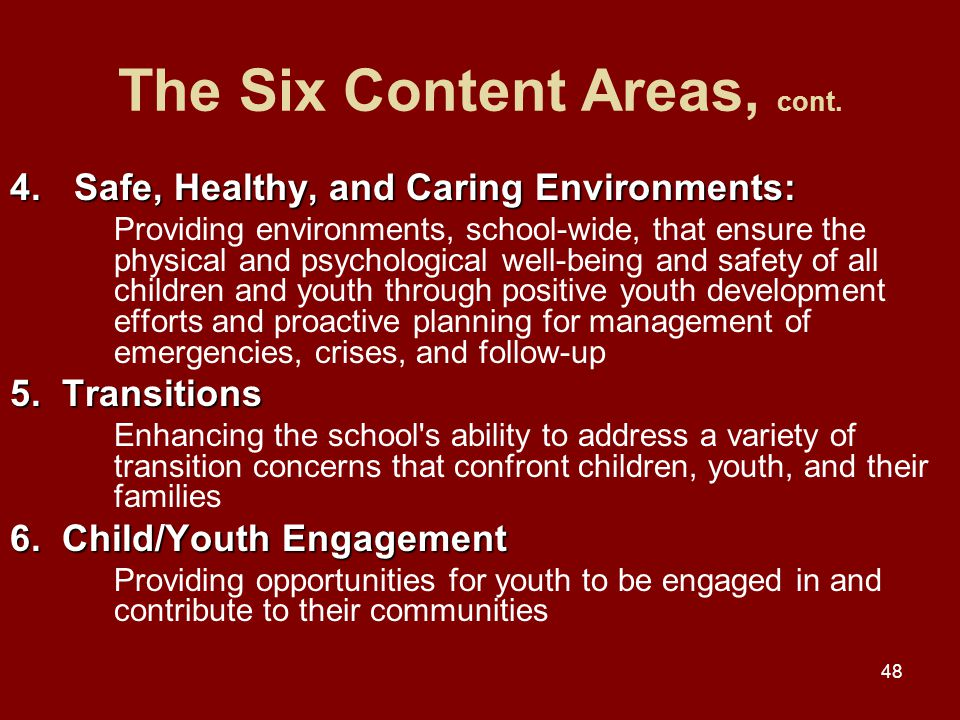 48 The Six Content Areas, cont.