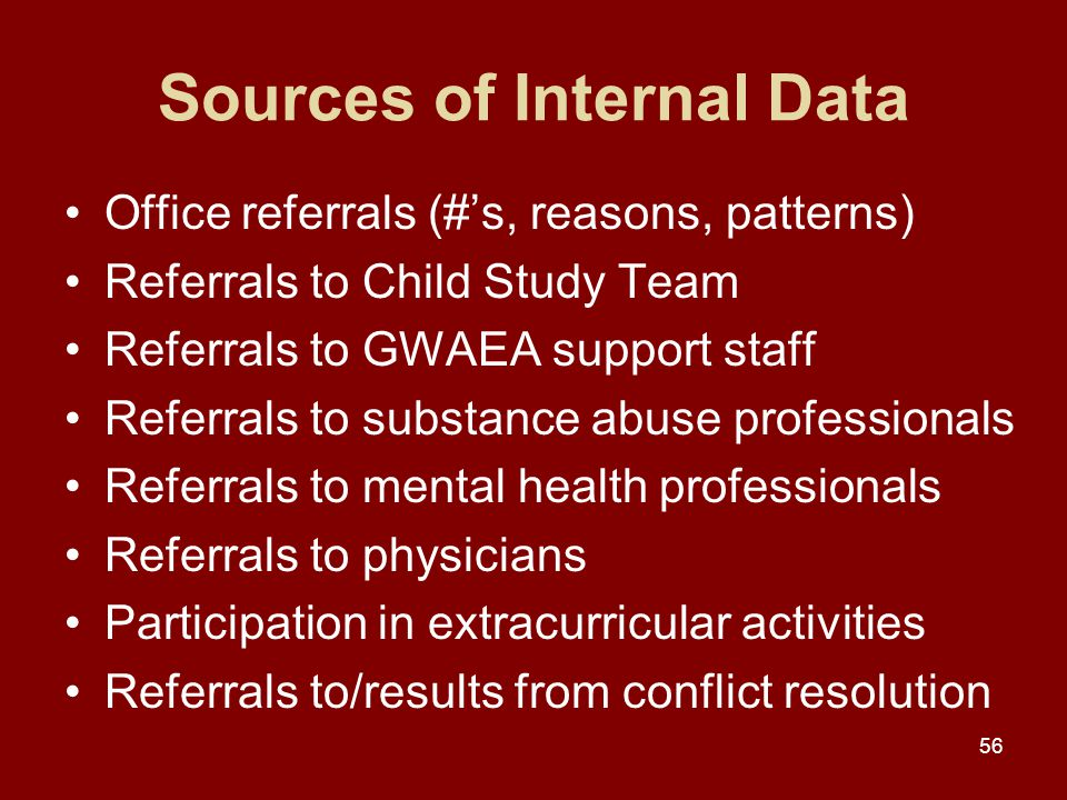 56 Sources of Internal Data Office referrals (#'s, reasons, patterns) Referrals to Child Study Team Referrals to GWAEA support staff Referrals to substance abuse professionals Referrals to mental health professionals Referrals to physicians Participation in extracurricular activities Referrals to/results from conflict resolution