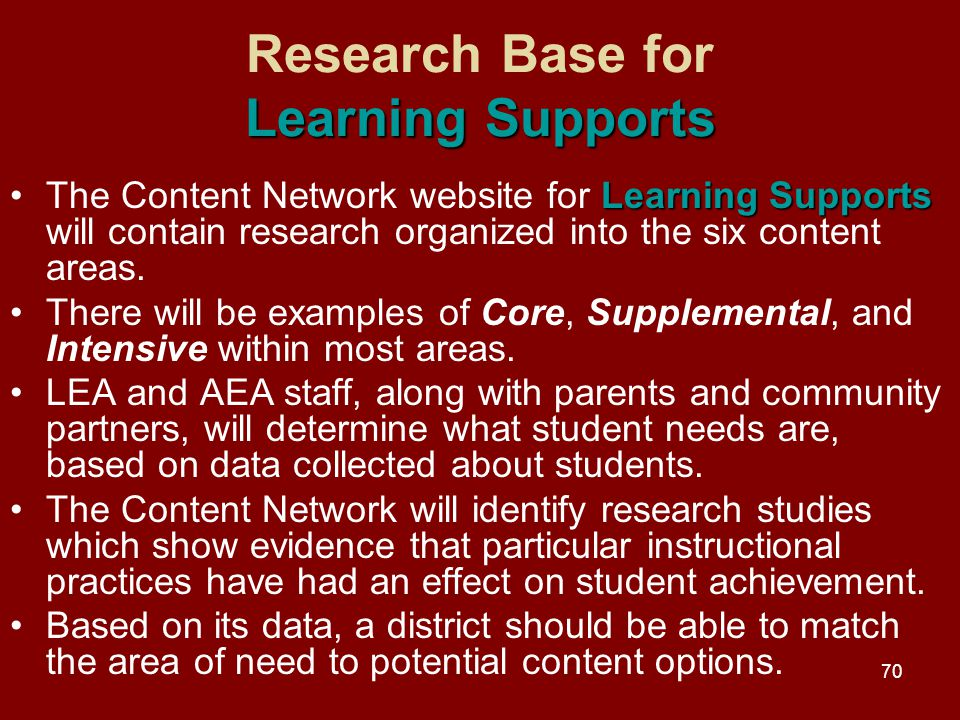 70 Learning Supports Research Base for Learning Supports Learning SupportsThe Content Network website for Learning Supports will contain research organized into the six content areas.