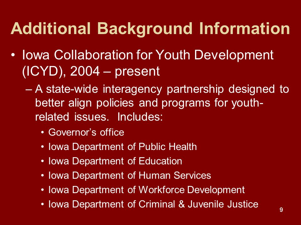 9 Additional Background Information Iowa Collaboration for Youth Development (ICYD), 2004 – present –A state-wide interagency partnership designed to better align policies and programs for youth- related issues.