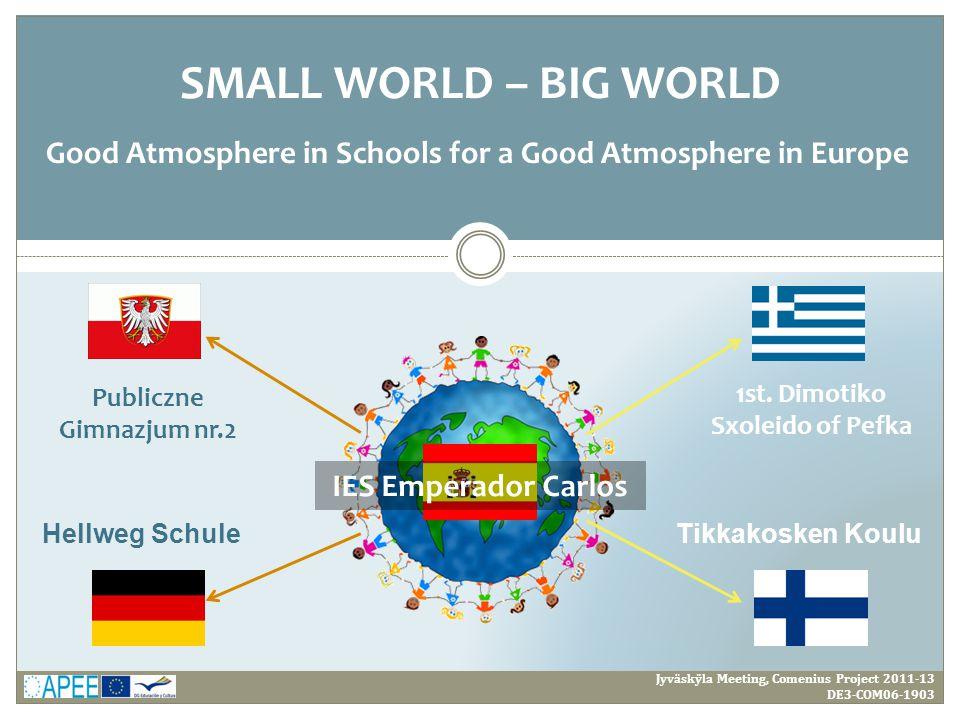 Jyväskÿla Meeting, Comenius Project 2011-13 DE3-COM06-1903 SMALL WORLD – BIG WORLD Good Atmosphere in Schools for a Good Atmosphere in Europe Tikkakos