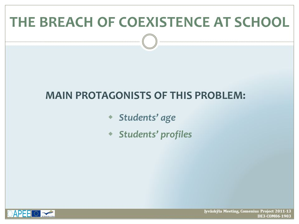 MAIN PROTAGONISTS OF THIS PROBLEM: Jyväskÿla Meeting, Comenius Project 2011-13 DE3-COM06-1903  Students' age  Students' profiles THE BREACH OF COEXISTENCE AT SCHOOL