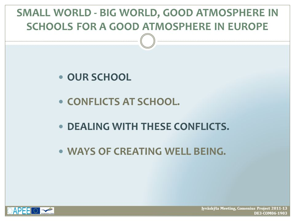 OUR SCHOOL CONFLICTS AT SCHOOL. DEALING WITH THESE CONFLICTS. WAYS OF CREATING WELL BEING. SMALL WORLD - BIG WORLD, GOOD ATMOSPHERE IN SCHOOLS FOR A G