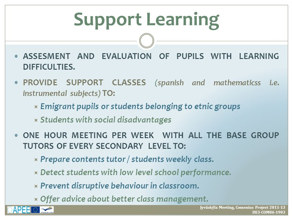ASSESMENT AND EVALUATION OF PUPILS WITH LEARNING DIFFICULTIES.