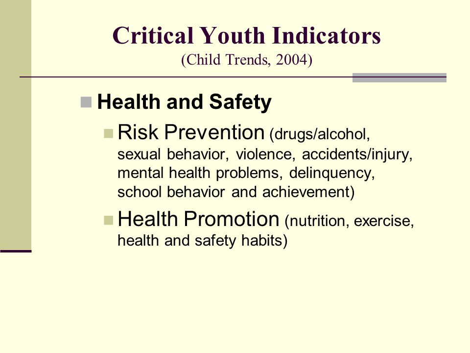 Critical Youth Indicators (Child Trends, 2004) Health and Safety Risk Prevention (drugs/alcohol, sexual behavior, violence, accidents/injury, mental health problems, delinquency, school behavior and achievement) Health Promotion (nutrition, exercise, health and safety habits)