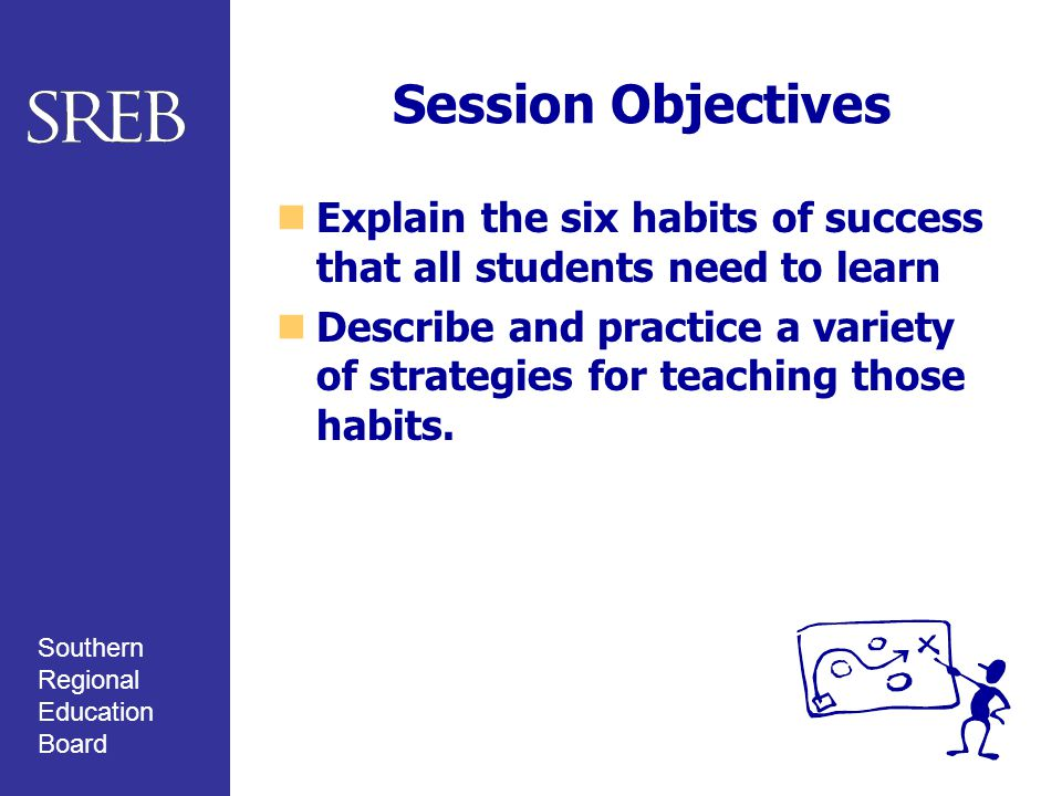 Southern Regional Education Board Session Objectives Explain the six habits of success that all students need to learn Describe and practice a variety of strategies for teaching those habits.