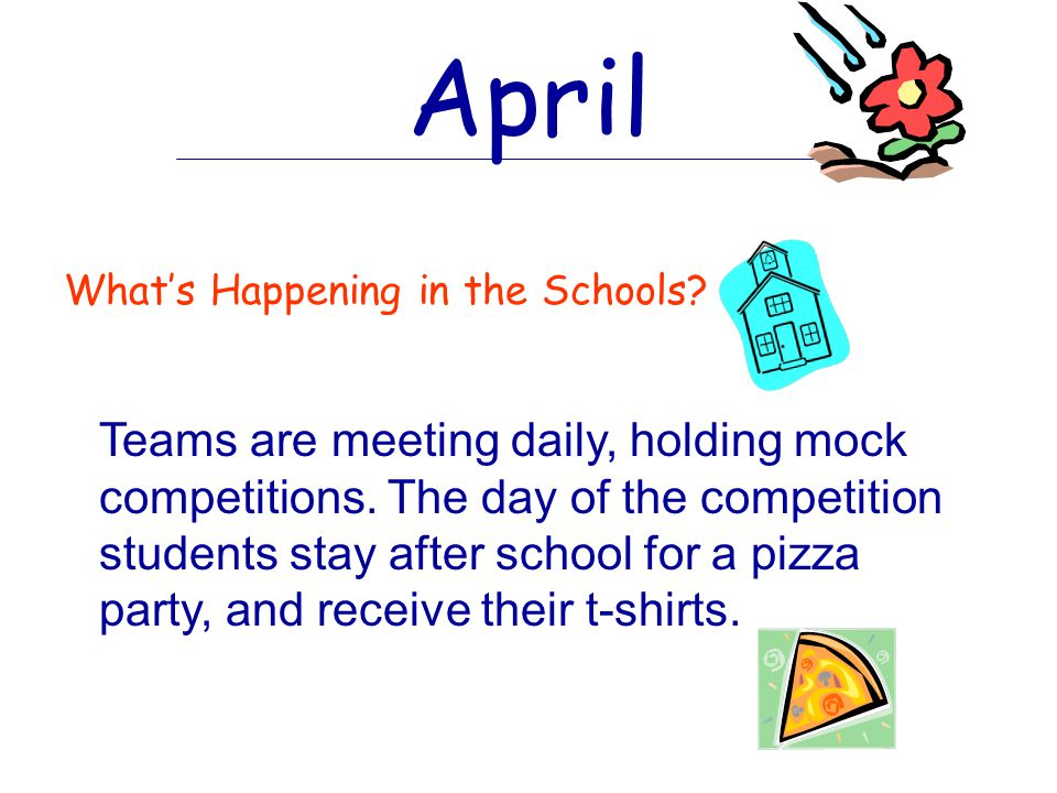 March What's Happening in the Schools. Teams meet more often usually twice a week.